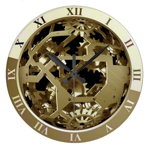 steampunk wall clock showing gears and mechanism black