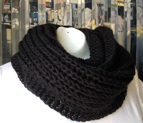 Bufanda infinita o mágica dos vueltas, modelo especial para hombre color negro de lana de