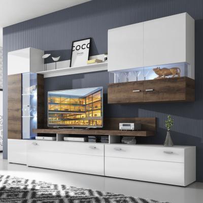 First Loft Wohnwand Manerba in weiß Wohnzimmer Pinterest In - moderner wohnzimmerschrank mit glastüren und led beleuchtung