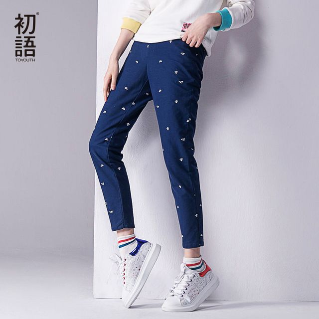 Toyouth 2017 Autumn New Pants Women Printed Casual Cotton Straight Trousers Full Length XXL Pants