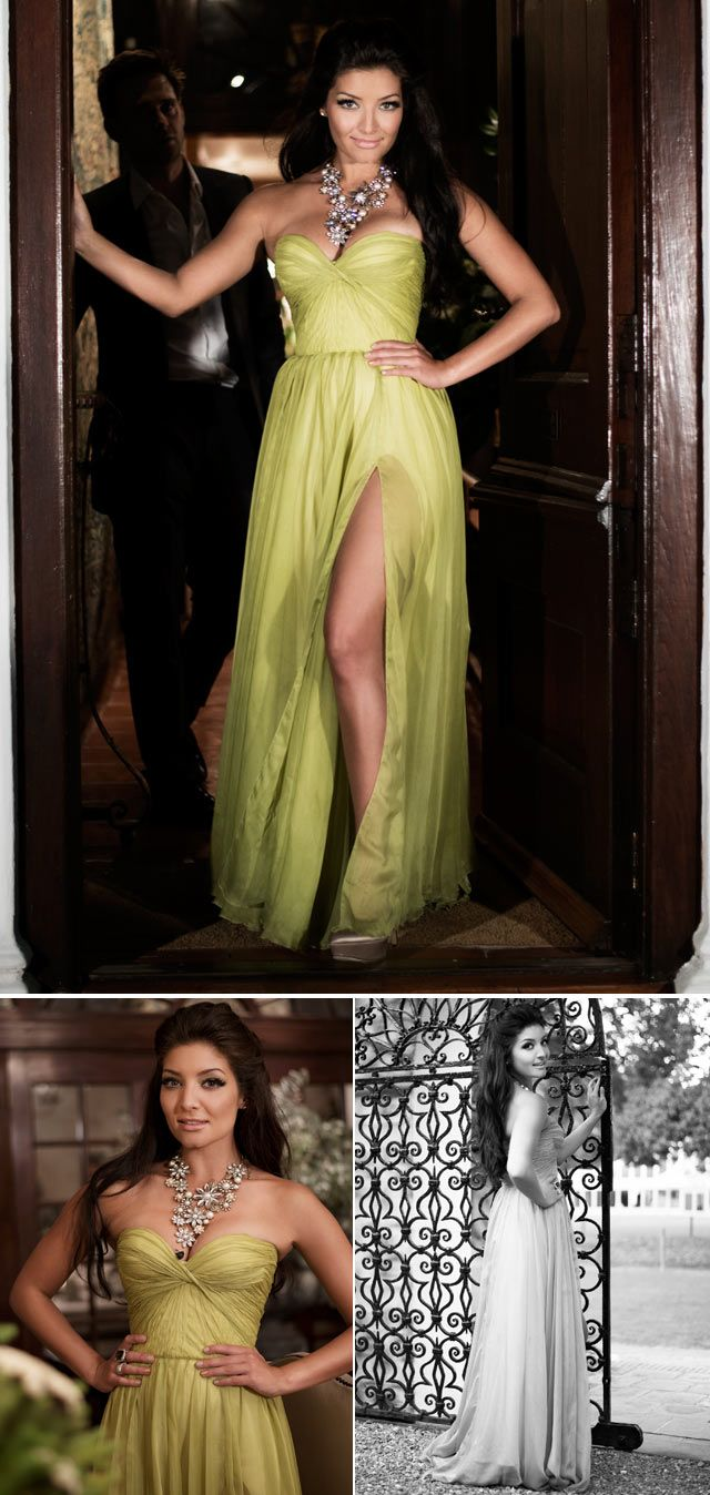 Top Billing presenter Jeannie D wearing wearing lime gown from Liezel van Zyl Couture