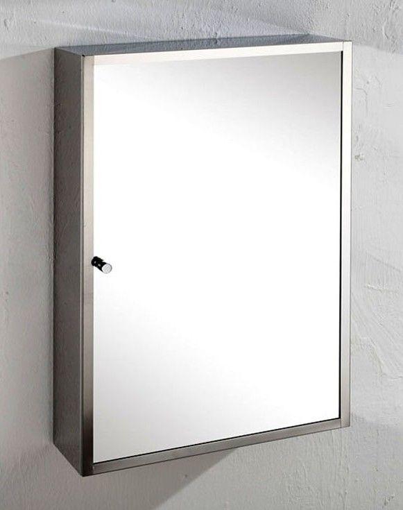 Monaco Single Door 35cm Wide By 50cm Tall Mirror Bathroom Wall Cabinet With Internal Shelves