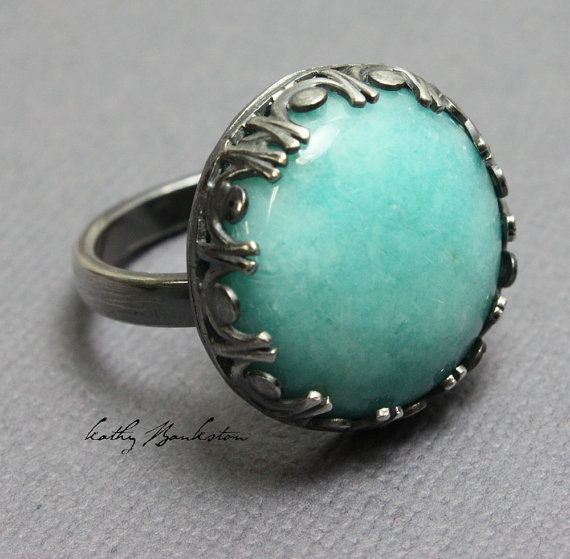 Amazonite and Sterling Ring, Size 10 Ring, Blue Green Rings, Amazonite Jewelry, Amazonite Rings, Kathy Bankston, Plus Size Rings, Handmade