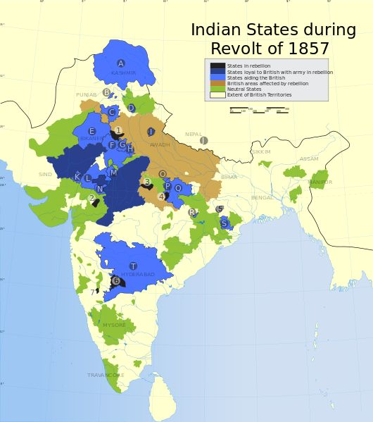 Rare map showing the Indian princely states during the Revolt of 1857.