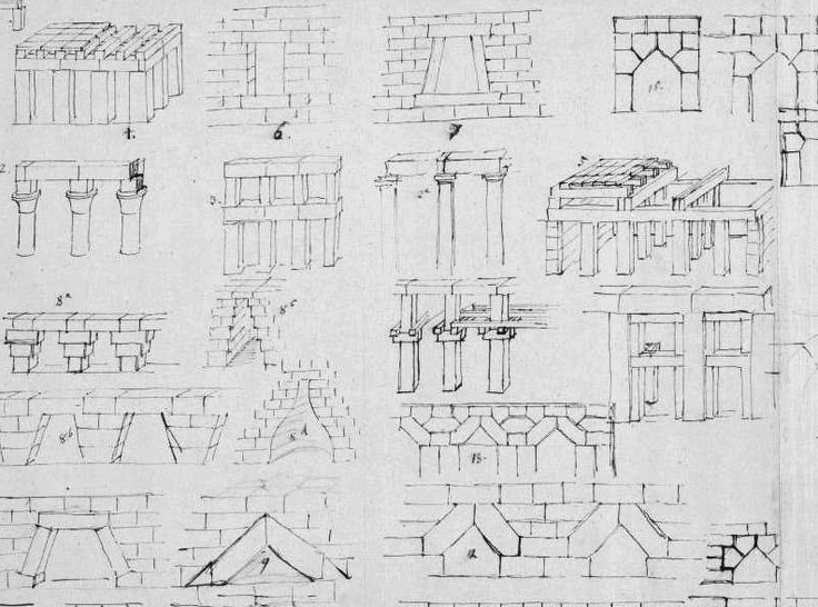 Close up of the famous 'Lange Blatt' with preparatory sketches by Karl Friedrich Schinkel for his 'Architektonische Lehrbuch', showing the historical development of making spans in architecture. Very inspiring.