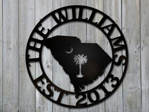 Custom South Carolina State Palmetto Moon Plaque House Steel Sign on Etsy, $50.00