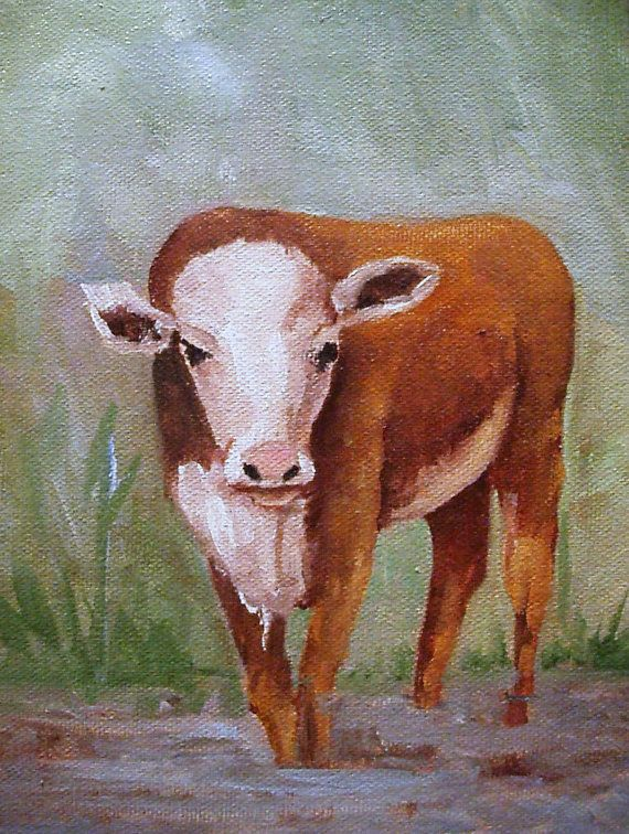 Hereford Calf Barbara Haviland oil painting by Barbsgarden on Etsy, $50.00