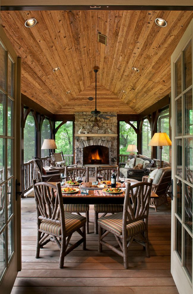 Rustic chic all weather screened in porch - stunning, cozy, stone fireplace, branch furniture