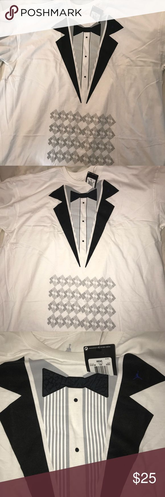 🔥NWT rare Jordan tuxedo space jam shirt Brand new with tags.   Pairs perfectly with Air Jordan retro 11 space jam   Comes from a smoke/pet free home Air Jordan Shirts Tees - Short Sleeve