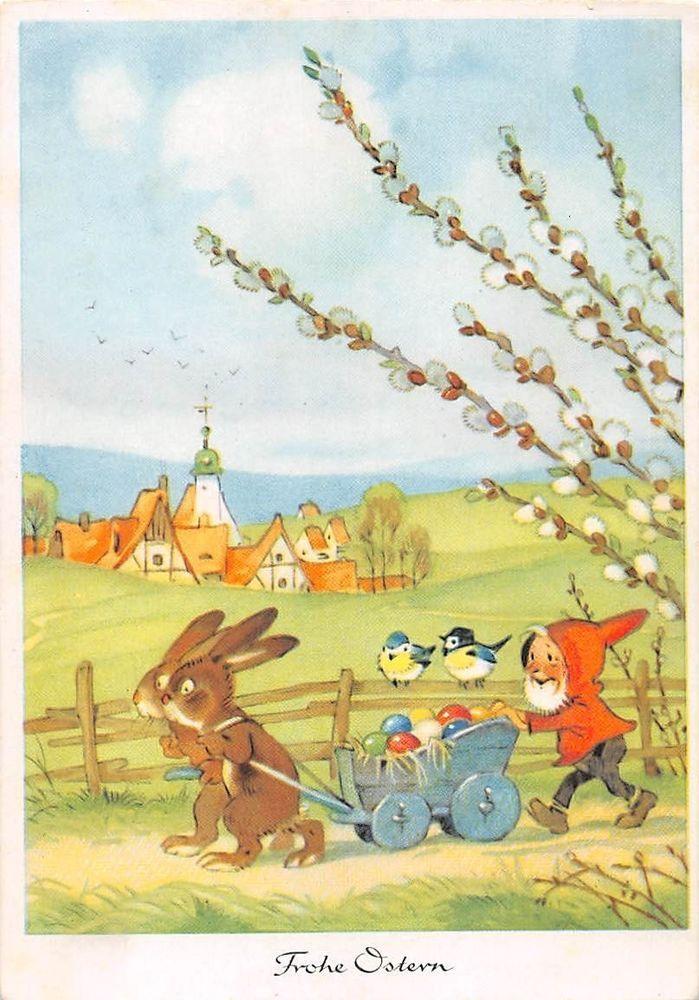 AK Frohe Ostern Zwerg Hasen mit Handwagen Ostereier Gnom Vogel Künstlerkarte in Sammeln & Seltenes, Ansichtskarten, Motive   eBay