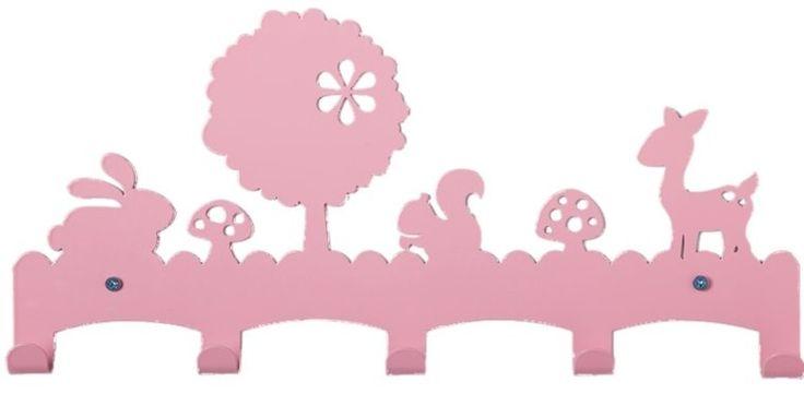 Kapstok voor Kinderen Roze Metaal met Hertjes.