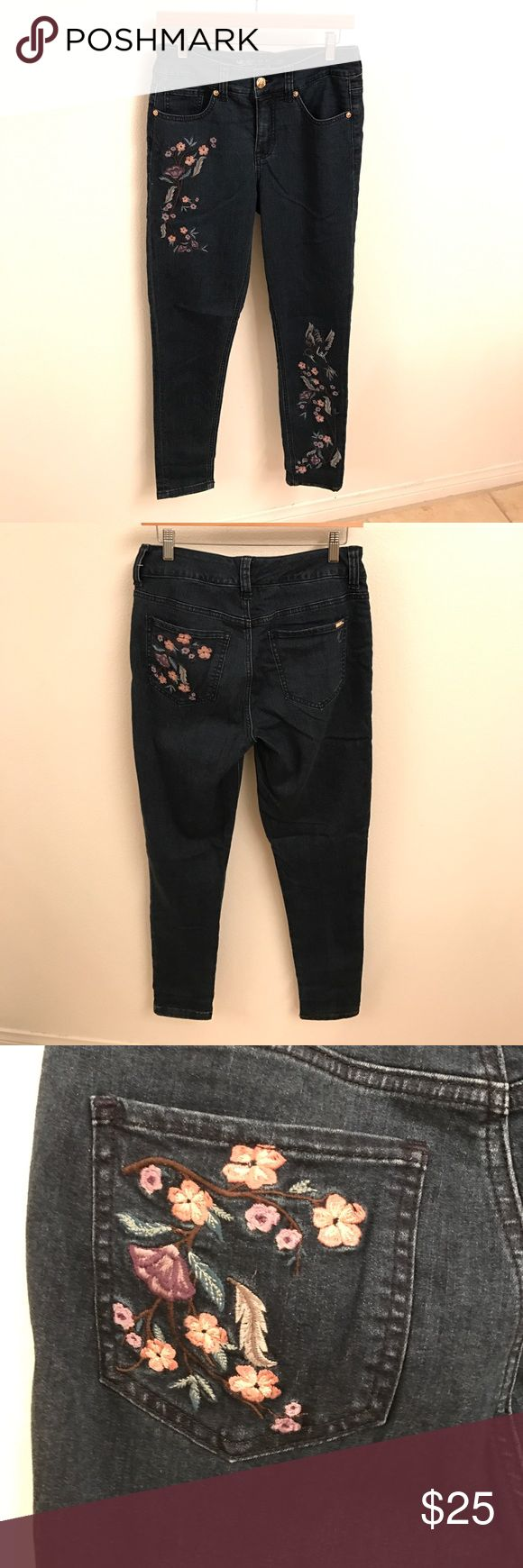 Melissa McCarthy embroidered denim Medium blue wash w/ floral embroidery. New/no tags. Melissa McCarthy Pants Skinny
