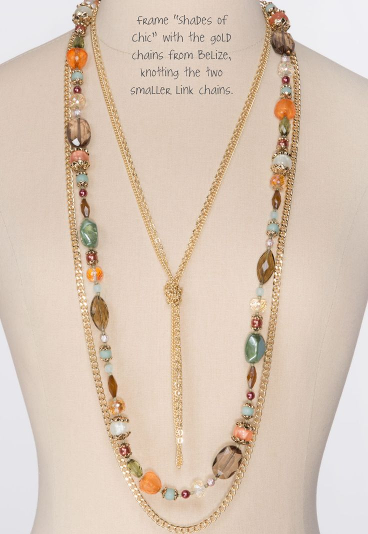 """Shades of Chic & Belize Gold Chains Belize Necklace from the Premier Designs Collection. 20554 - gold tone aurora boreal is glass beads - 36"""" five strand necklace + 4"""" removable extension w/lobster claw and two ( 34 1/2"""" & 37 1/2"""" ) removable bead strands."""