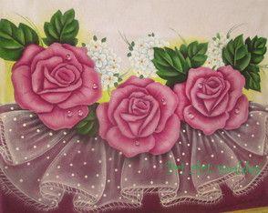 Pano de copa rosas com falso barrado
