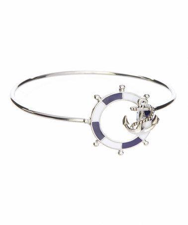 Look at this #zulilyfind! Navy Anchor Nautical Charm Bracelet by LCO Jewelry #zulilyfinds