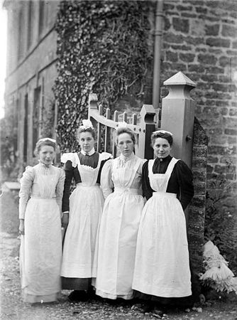 Maids at Church House, Charwelton, Northamptonshire, 1903. There was a strict hierarchy between servants, based on gender, age, length of service, and position. People could enter into service at a very young age, for example the girl in this photo, and may stay with the same household their whole life.