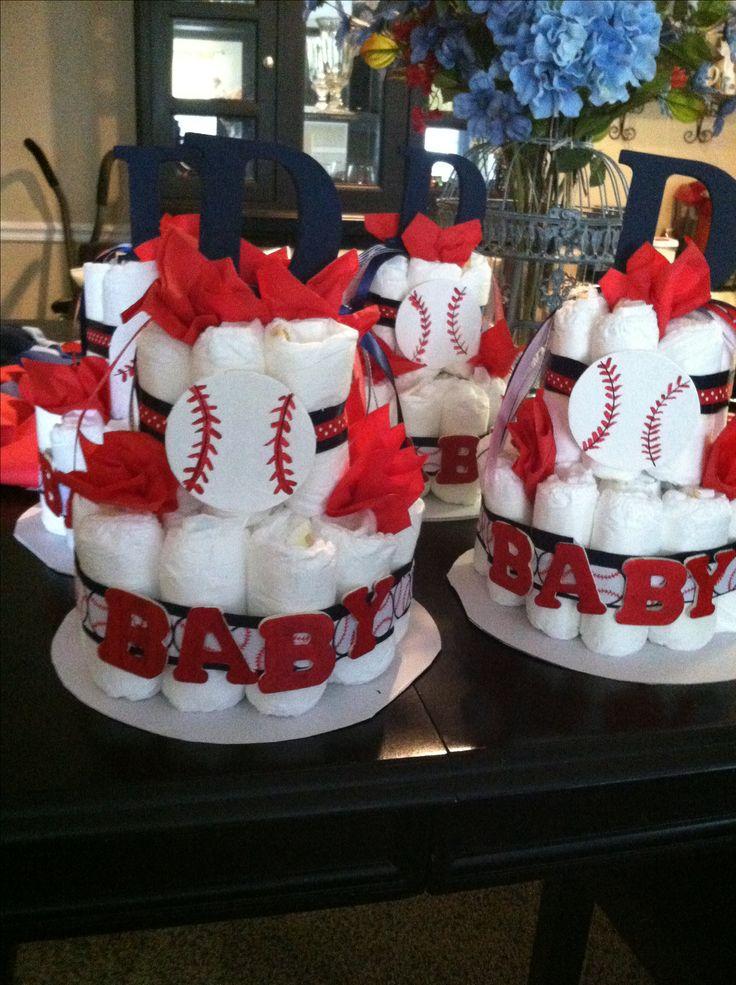 Baseball theme diaper cake