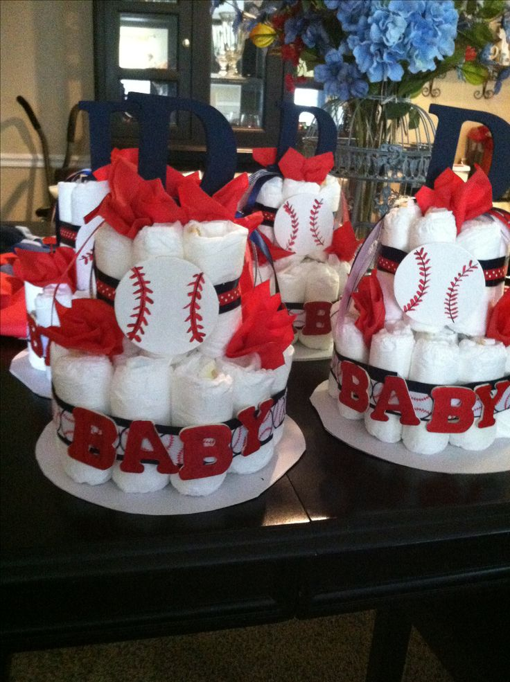 Baseball theme diaper cake