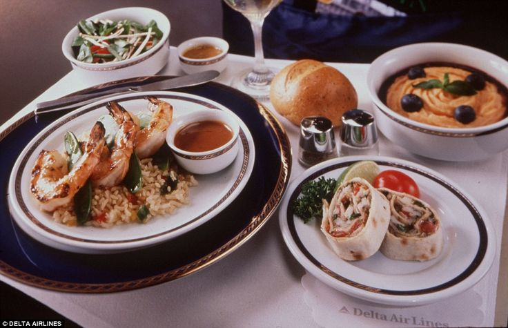 Outstanding mention: Delta Airlines's first class meal of grilled shrimps with rice, fajit...