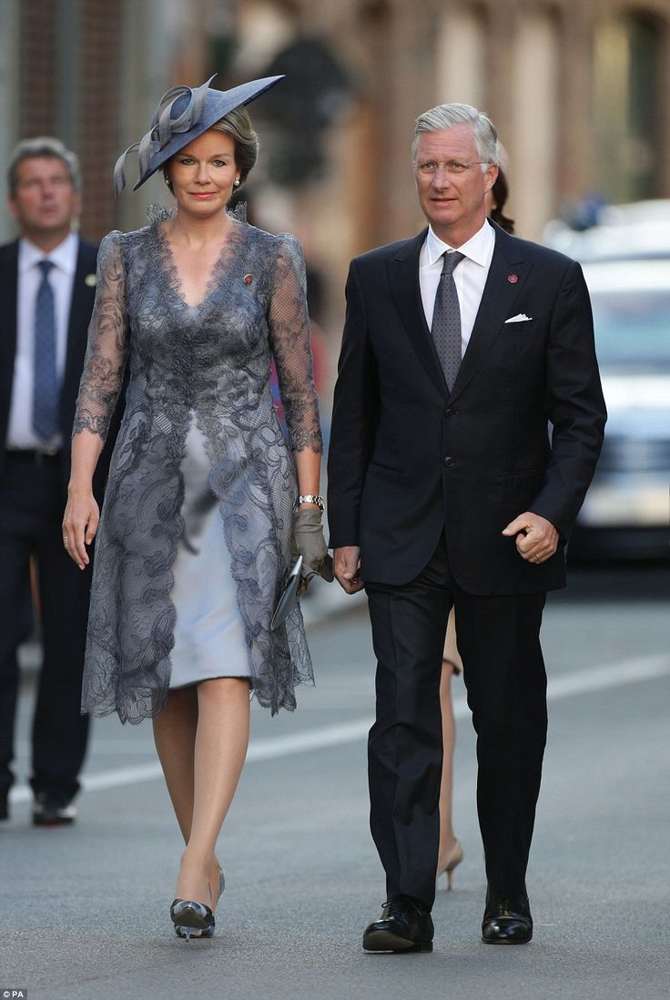 The King and Queen of the Belgians, Philippe of Belgium and Queen Mathilde, arriving at the commemoration service