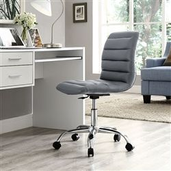 Cool gray ribbed back home office chair with armless design.