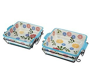 Temp-tations Dahlia 1.5 qt. & 2 qt. Square Baker Set - QVC