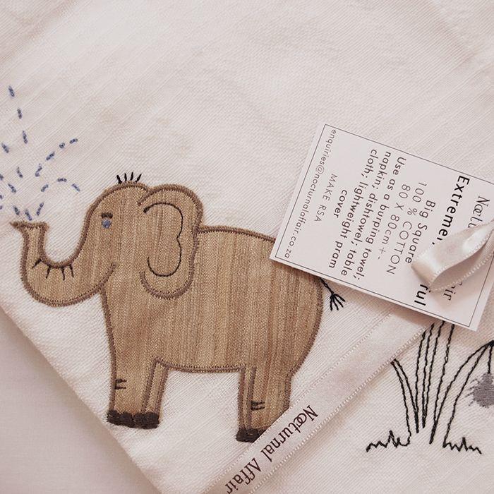 Nocturnal Affair, Muslin Big Square Veld Animals Elephant