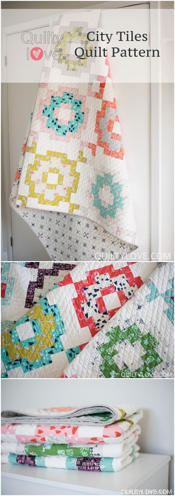 City Tiles Quilt pattern by Emily of Quilty Love. Modern pattern uses cotton and steel fabrics for a fun and fresh large throw size quilt. Click through for more pics of this quilt! www.quiltylove.com