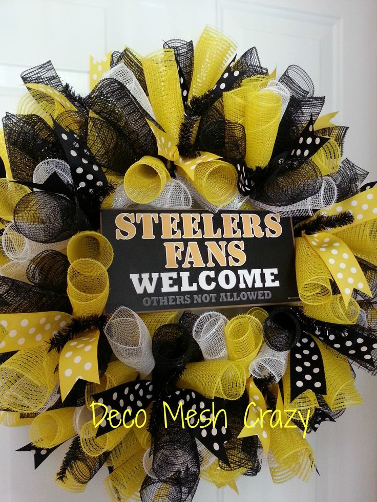 pittsburgh steelers mesh wreaths | Pittsburgh Steelers Sports Deco Mesh Wreath- http://www.facebook.com ...