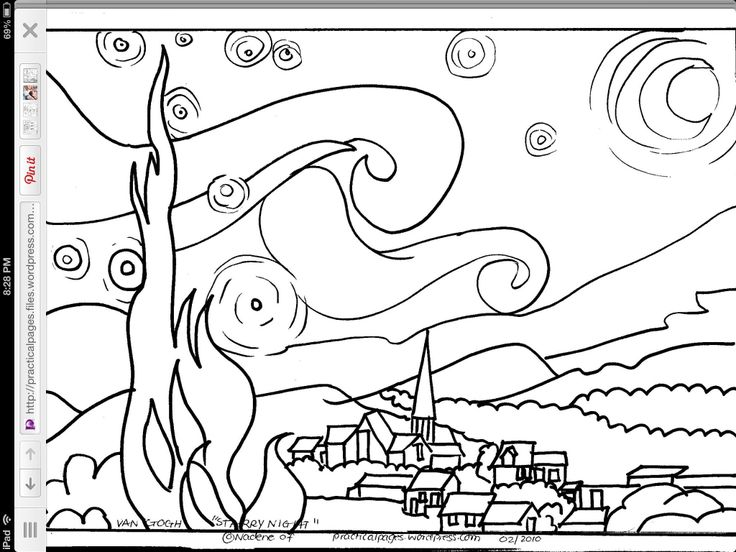 coloring pages night | Starry Night coloring page | Starry night | Pinterest ...