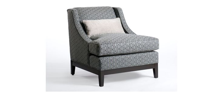 """Barry Fabric: Shagadelic Monsoon Includes one kidney pillow 20"""" x 10""""  CHAIR (as shown) Length (overall) 31"""" Length (inside) 22"""" Depth (overall) 36"""" Depth (seat) 22"""" Height (overall) 33"""" Height (arm) 18"""" Height (seat) 20"""""""