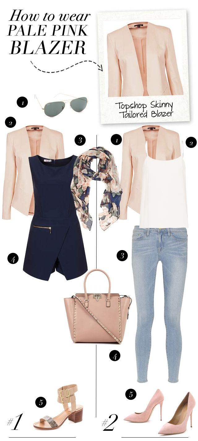 Peach Navy Blue White Jeans Outfit