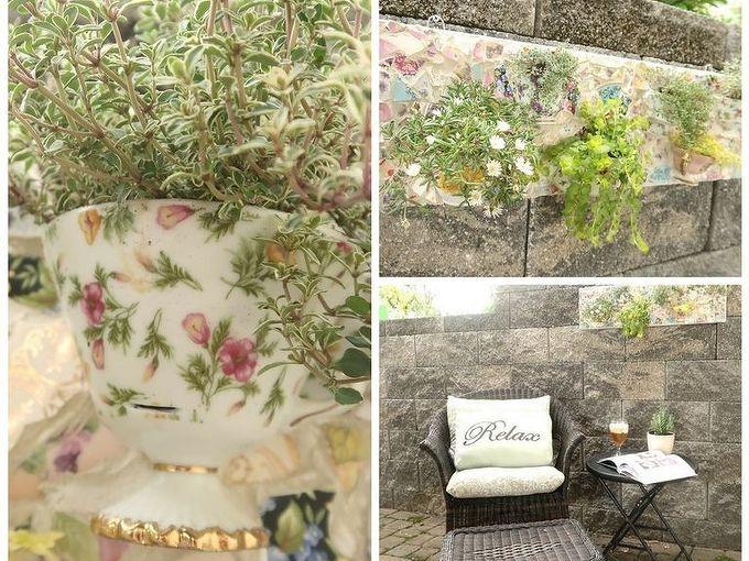 "Tea ""totaler"" Wreath Garden, Teacup mosaic, Planters"