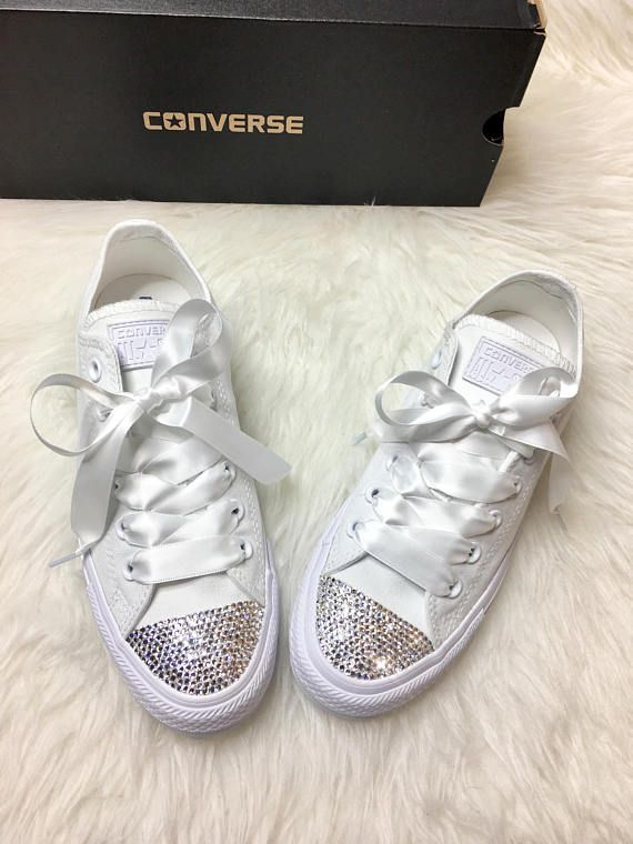 89fe50841d0809 Bling Custom White Converse With Beautiful Swarovski Crystals And Satin  Ribbon Laces These are one of a kind beautiful custom made sneakers