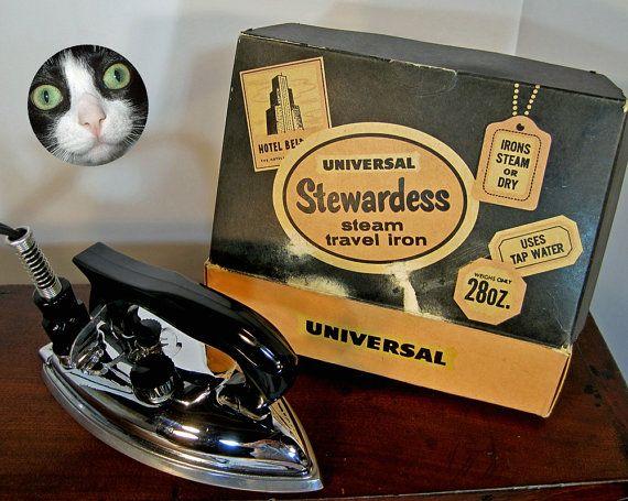 Steam travel iron Universal Stewardess midcentury by FionaDorothy