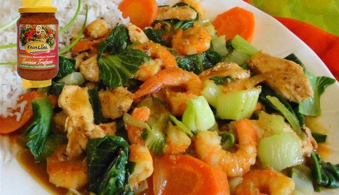 Surinaams eten – Shanghai Kip Garnaal (Surinaams-Chinese kip garnalen met Shanghai paksoi)