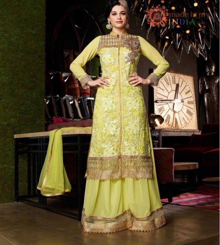 Lemon embroidered achkan style suit