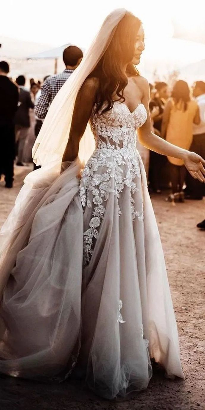 Grey Bridal Dress Lace Wedding Dresses A Line Wedding Dresses