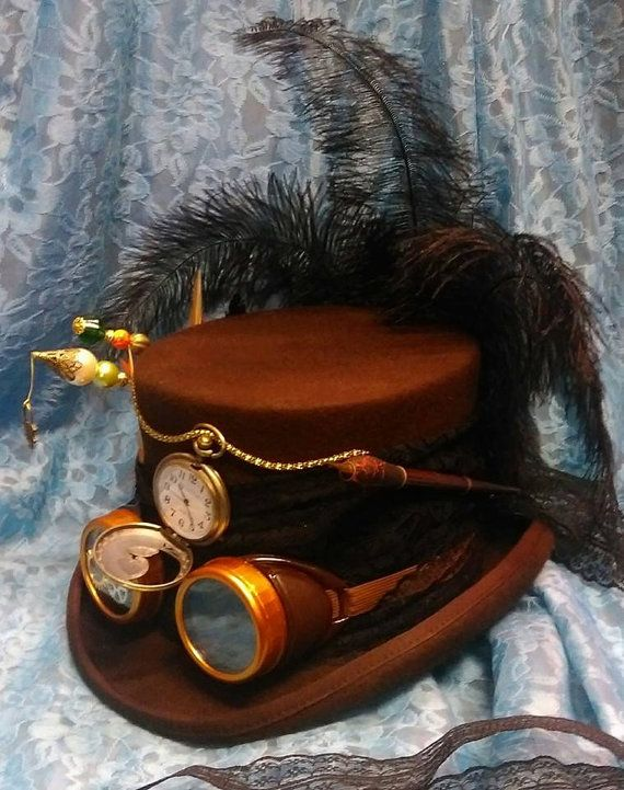 Steampunk Festival Victorian 100% Wool Brown Top Hat Goggles Vintage Dip Pen Real Pocket Watch Clock Wheels Burning Man Cosplay Mad Hatter by Mad4Hats