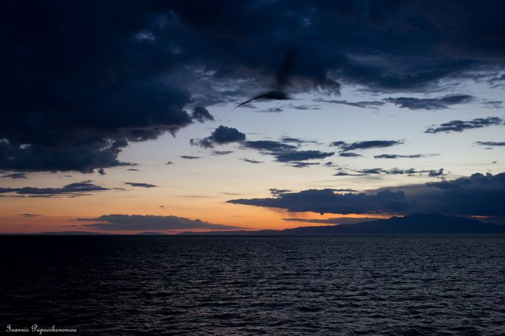 Sunset on the boat to Kavala, Greece