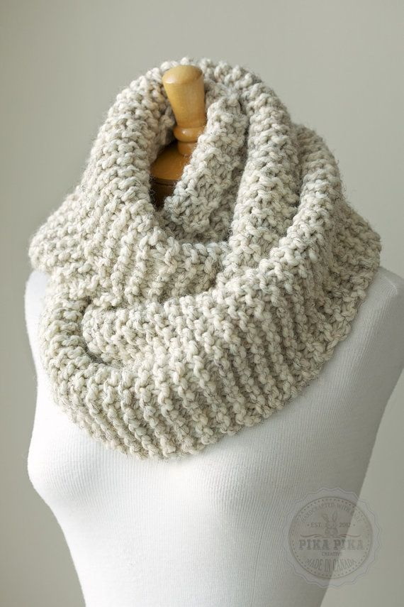 Knit scarf, chunky knitted infinity scarf in Pale Brown or Beige, 11,5 x 50 inches circle scarf, warm and soft by PikaPikaCreative