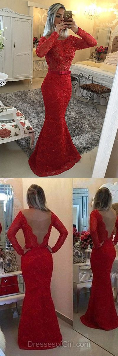 Trumpet/Mermaid Scoop Neck Red Lace Tulle with Beading Long Sleeve Prom Dress