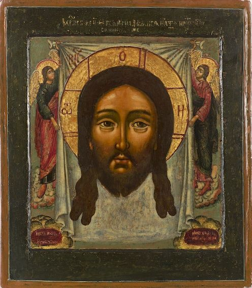 This Icon depicts the Holy Mandulion, the Face of Christ,not made by human hands. The legend of the Mandulion is similar to the western story of Veronika who wiped the Face of Jesus with a piece of cloth.