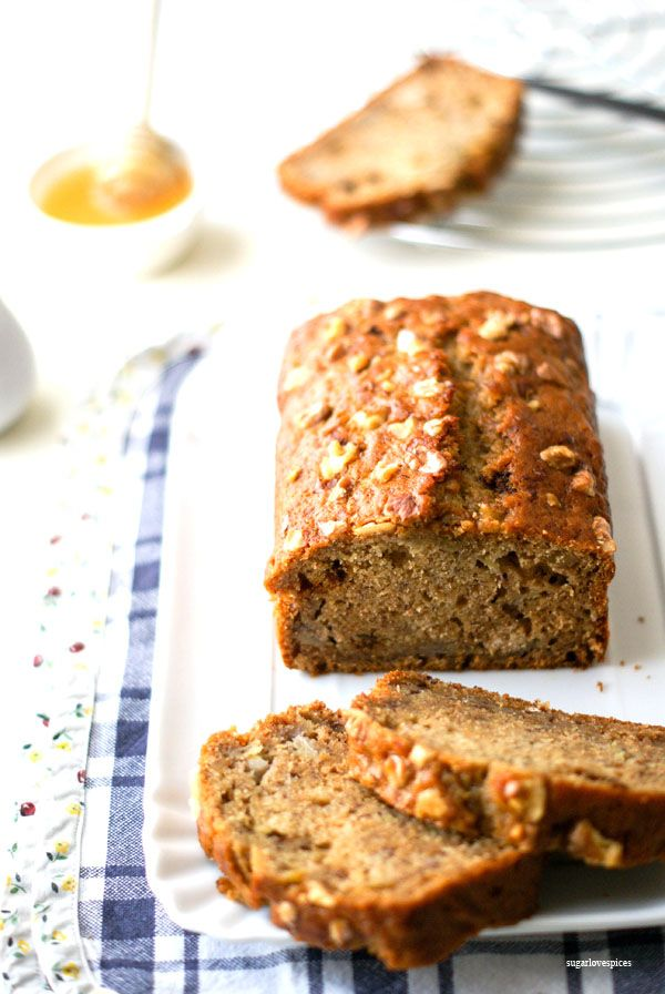 Spelt and Honey Banana Bread with Walnuts - SugarLoveSpicesSugarLoveSpices