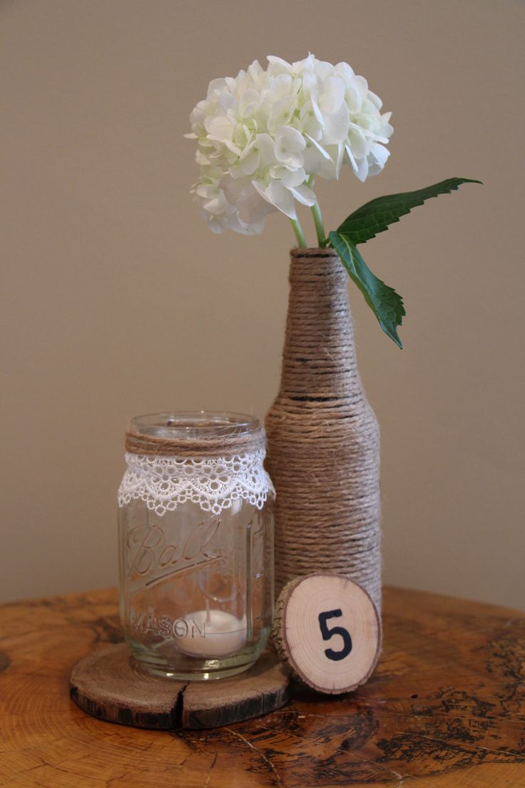 Lace and Twine Mason Jar Candle Holder / Vase! Get 10% off with coupon code: PINTEREST10 http://etsy.me/1g2hQOS