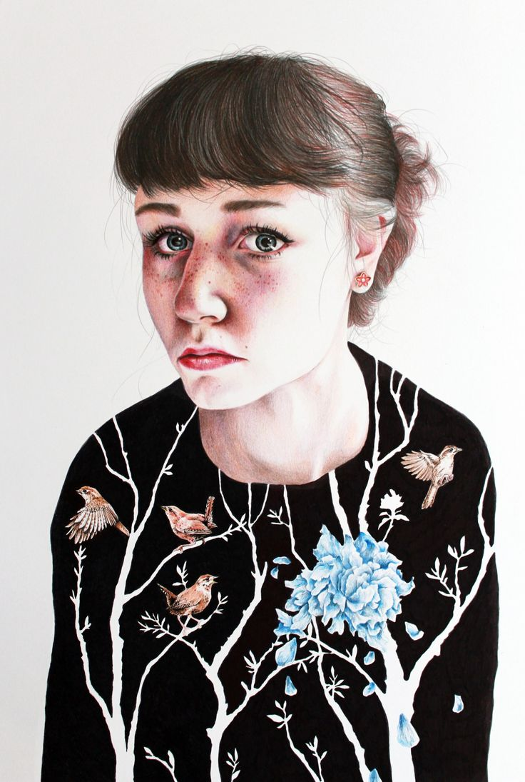 """katelouisepowell:  New drawing, a self portrait based on the quote - """"I have acid rain in my brain and it's killing the flowers in my heart."""""""