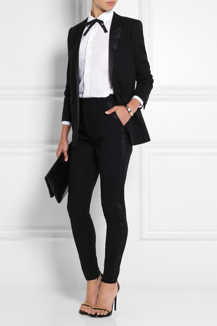 Saint Laurent|Silk-grosgrain and leather bow collar|NET-A-PORTER.COM
