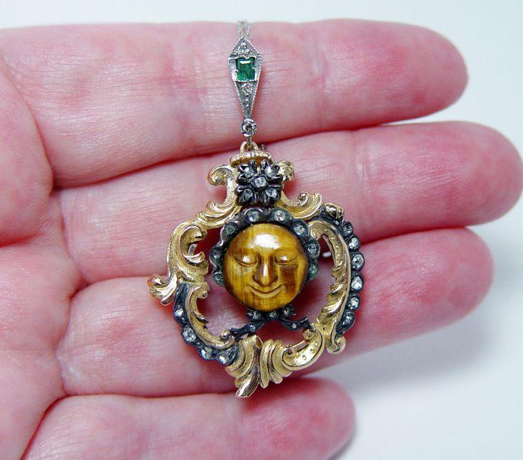 Art Nouveau Rose Diamond Pendant 18Kt Gold Old Granny in Bonnet Estate Jewelry  #Pendant