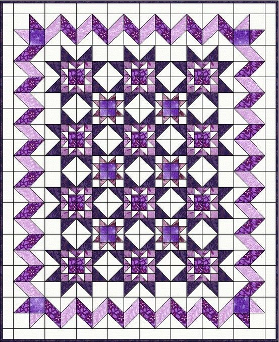 Like the idea of using different shades of the same color to create diversity in the quilt. Not purple though!