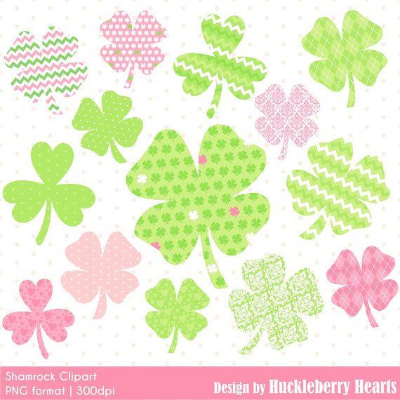 80% OFF SALE Digital Shamrocks St Patricks by HuckleberryHearts